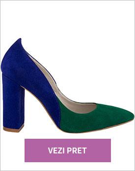 Pantofi Duo verde inchis
