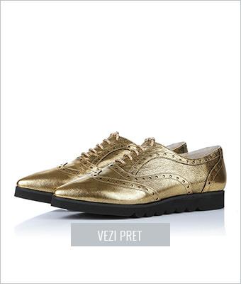 Pantofi Oxford aurii din piele naturala