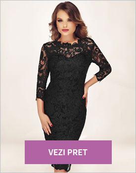 Rochie neagra eleganta din dantela Noelle