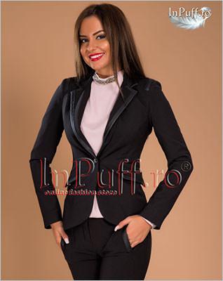 Sacou dama negru cu insertii piele ecologica