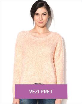 Pulover asimetric roz piersica Vero Moda
