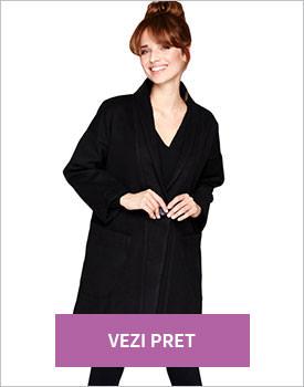 Palton modern negru cu buzunare