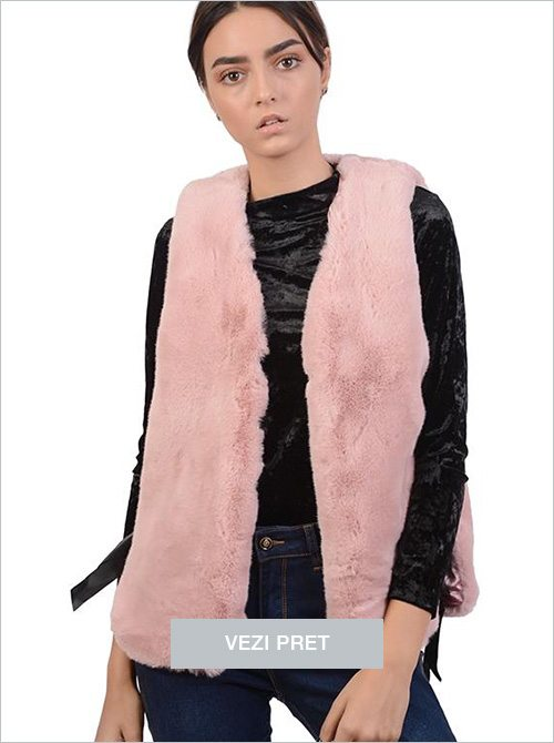 Vesta roz din imitatie de blana