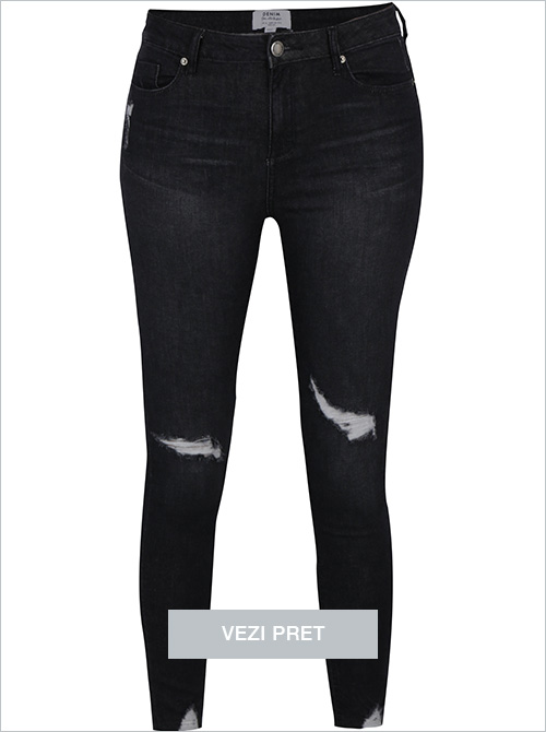 Blugi cropped super skinny negri Miss Selfridge