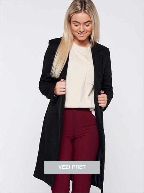 Palton negru basic drept