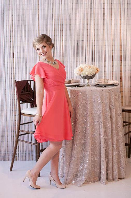 5flutter-sleeved-coral-bridesmaids-dress