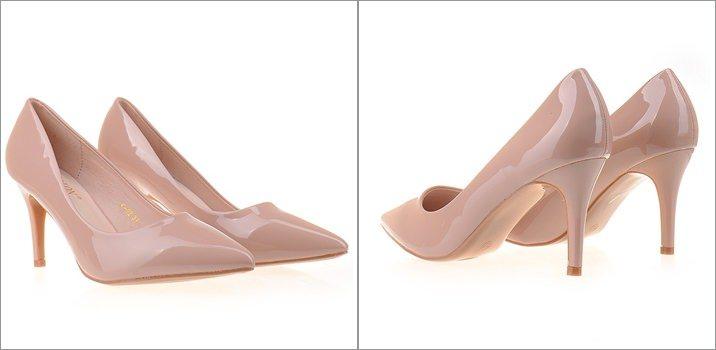 Pantofi lacuiti stiletto nude Adria toc mediu