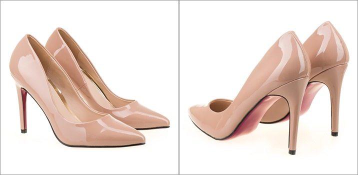 Pantofi stiletto piele lacuita Sonia nude
