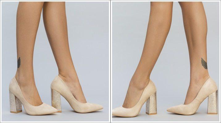 Pantofi cu toc gros statement Galero nude