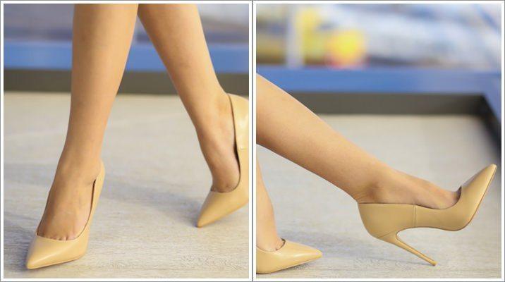 Pantofi Lapon nude cu toc inalt stiletto
