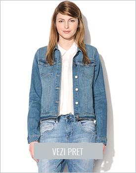 Jacheta din denim decolorat