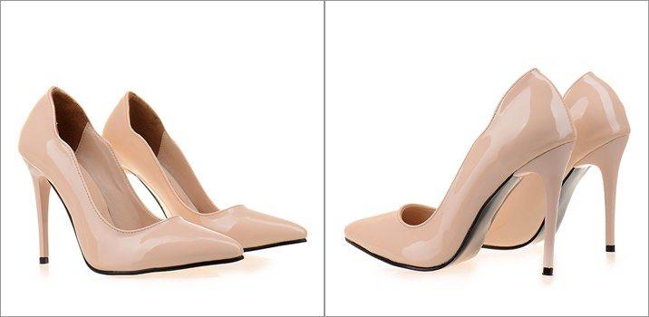 Pantofi stiletto lacuiti Abelle nude de dama