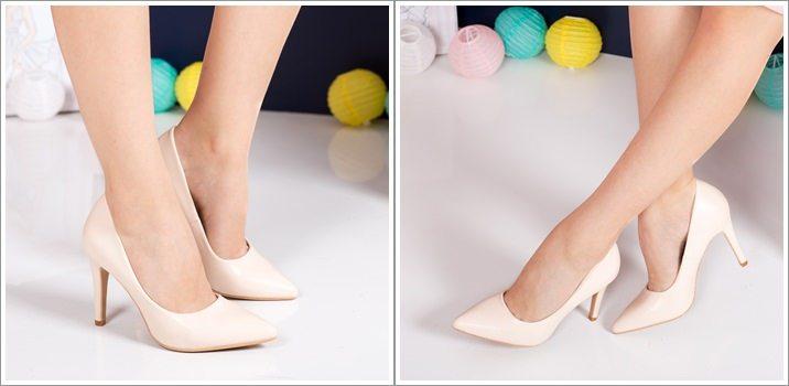 Pantofi eleganti Barth bej cu toc