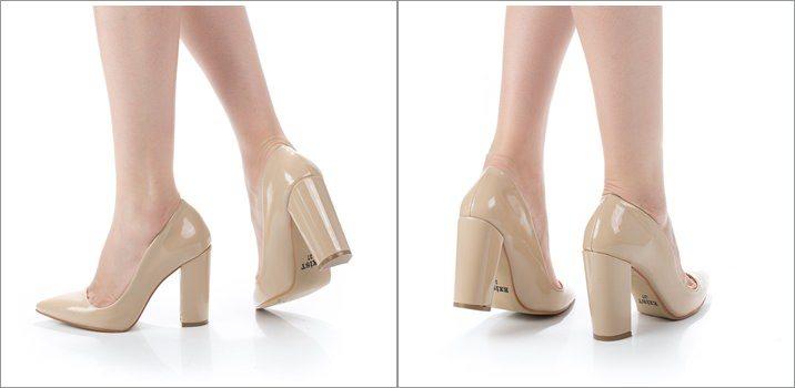 Pantofi lacuiti dama cu toc gros Shauna bej