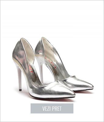 Pantofi Delia argintii
