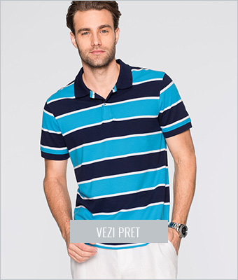 Tricou polo regular fit cu dungi