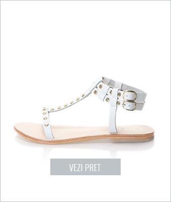 Sandale albe de piele Oakoui