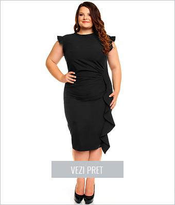 Rochie neagra cu volan vertical