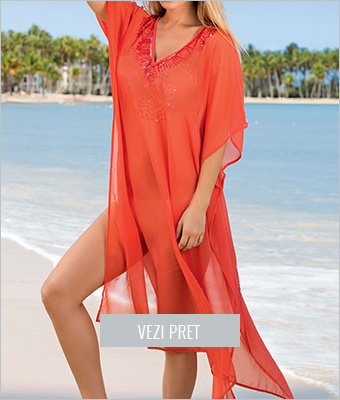 Rochie de plaja portocalie cu paiete