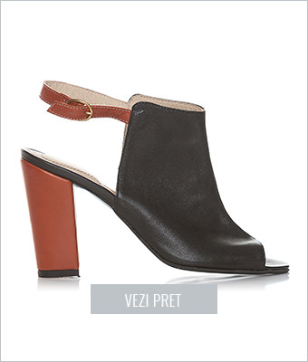 Sandale negre cu toc gros piele naturala