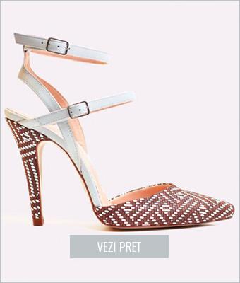 Pantofi dama de piele stiletto decupat Saschia