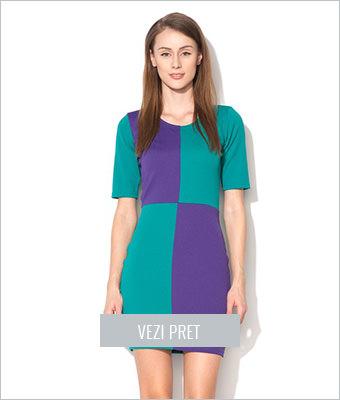 Rochie verde cu purpuriu Limitte