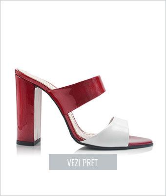 Sandale rosu cu alb