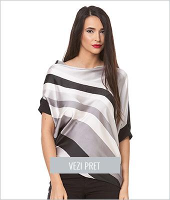 Bluza gri cu negru asimetrica in dungi