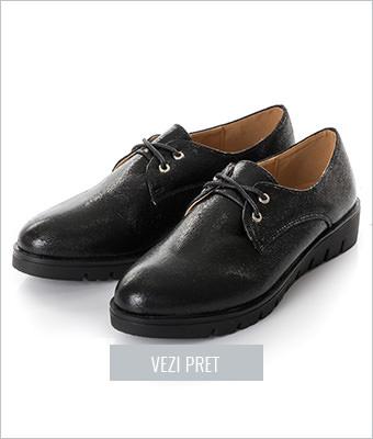 Pantofi Frappier negri Oxford