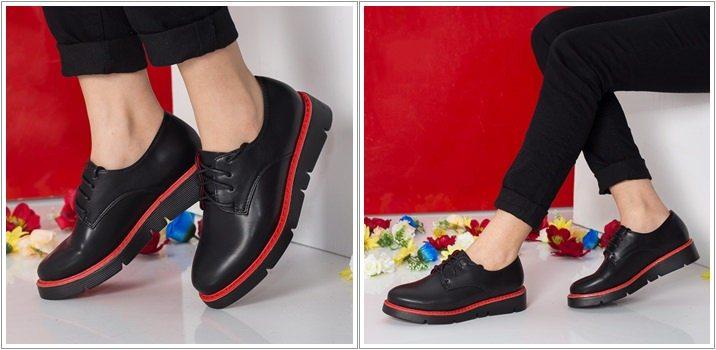 Pantofi dama Pandorra negru cu rosu