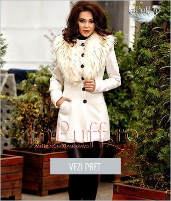 Palton dama cu guler de blana