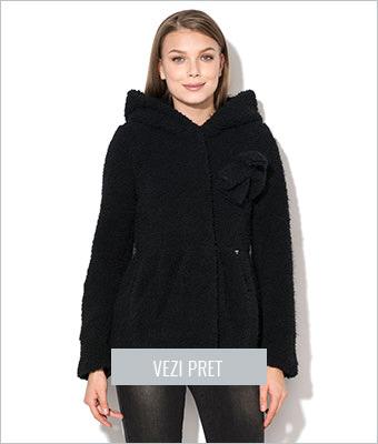 Palton negru de boucle Fornarina