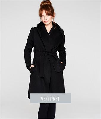 Palton sic negru cu gluga