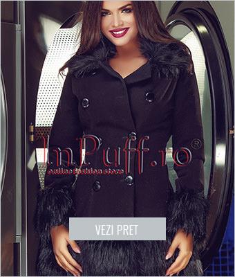 Palton negru cu guler si mansete din blana