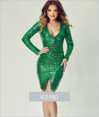 Rochie de seara din paiete verzi Jade