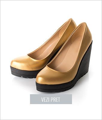 Pantofi Camus aurii cu platforma