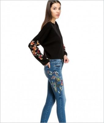 Jeans de dama Lashez cu broderie