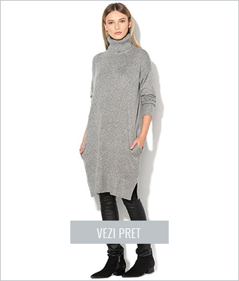 Pulover lung gri melange Vero Moda