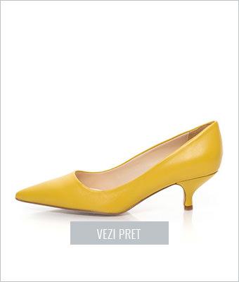 Pantofi galbeni toc kitten Zee Lane