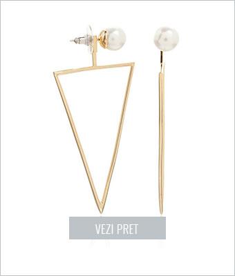 Cercei aurii cu design geometric M by Maiocci