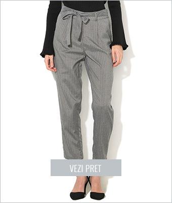 Pantaloni gri cu alb cu cordon New Look