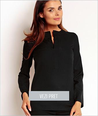 Bluza asimetrica neagra cu maneci lungi