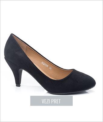 Pantofi dama Begum negri cu toc