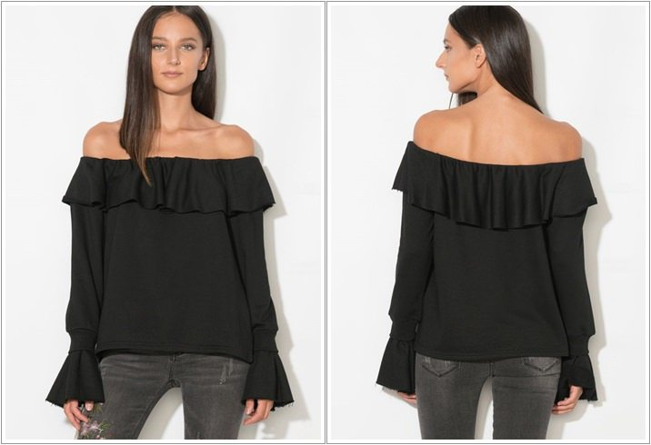 Bluza neagra cu volane Zee Lane Collection