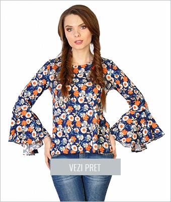 Bluza casual florala cu maneca clopot