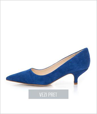 Pantofi albastri cu toc kitten Zee Lane