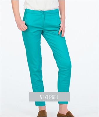 Pantaloni turcoaz femei Be you