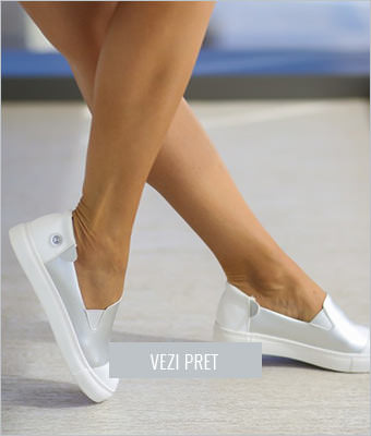 Pantofi Efel argintii