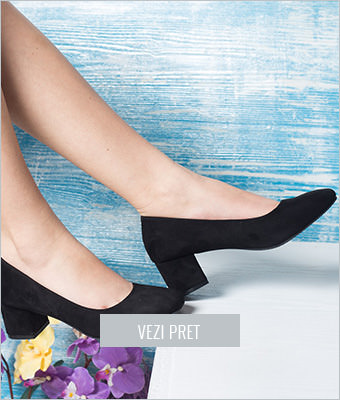 Pantofi dama Ellie negri cu toc gros