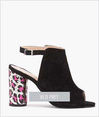Sandale negre cu toc cilindru